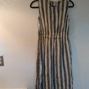 Loft 100% linen stripped dress sleevless keyhole